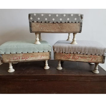 Upholstered Soda Crate Vintage Foot Stool with Candlestick Feet
