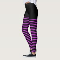 Black and Bright Pink Stripes Pattern Striped Leggings