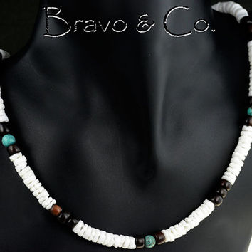 SN-107 Bravo Collection Turquoise, Clam Shell, Wood Hematite Choker Men Necklace.