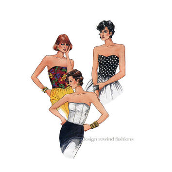1980s Sexy Corset Blouse Top Strapless Top With Boning Back Zipper Vogue Blouse Vogue 9588 UNCUT Vintage Pattern Sewing Patterns