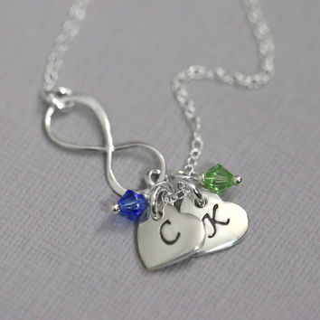 Sterling Silver Infinity Necklace, Sterling Silver Infinity and Double Heart Initial Charm Necklace with Birthstone Crystal