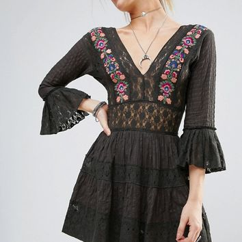 Free People Antiquity Lace Inserts Mini Dress at asos.com