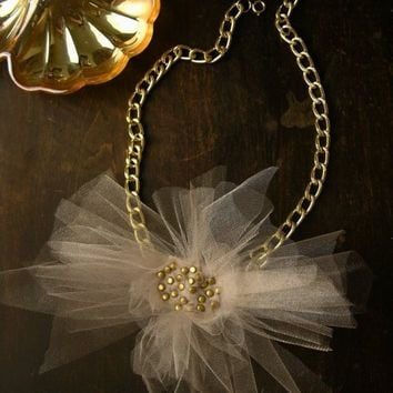ludivine tulle statement necklace beige by whiteowl on Etsy