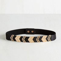 Urban Chevron the Right Path Belt in Black by ModCloth