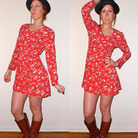 90's Grunge Country Red Floral Button Up Dress