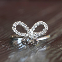 Vintage Rhinestone Ring//Gift For Her