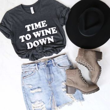 Distracted - Time to Wine Down Graphic Tee - Charcoal Grey