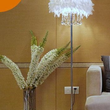 Modern  White Feather Shade Floor K9 Crystal Floor Lamp Lighting