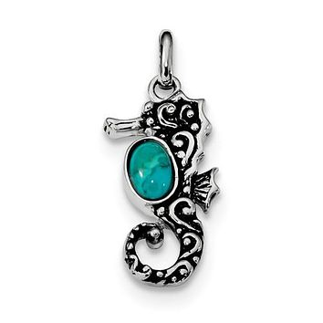 Sterling Silver Oxidized Recon. Turquoise Seahorse Pendant