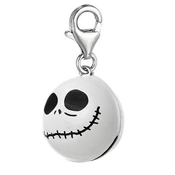 Nightmare Before Christmas White Halloween Skull Bell Clip On Pendant for European Charm Jewelry w/ Lobster Clasp