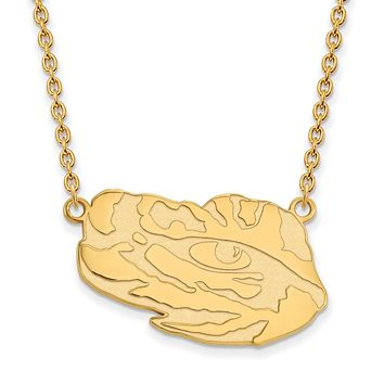 NCAA 14k Gold Plated Silver Louisiana State Large Pendant Necklace
