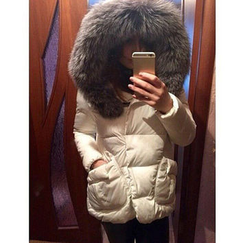 Women Parkas Down Faux Fur Collar w/Hood Jacket