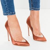 Missguided - Orange Clear Toe Pointed Pumps