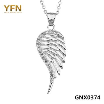 GNX0374 YFN Genuine 925 Sterling Silver CZ Crystal Angel Wing Pendant Necklace Fashion Jewelry For Women Collier