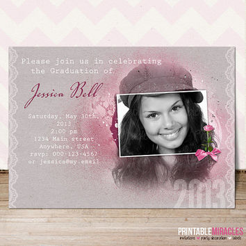 Bachelorette party invitation / Custom printable bridal shower invite card with photo / pink gray customized personalized