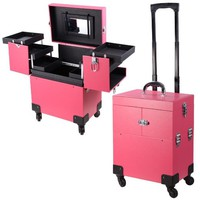 Pink 4 Rolling Wheel 14x9x17 PVC Artist Makeup Cosmetic Train Case Lockable Box