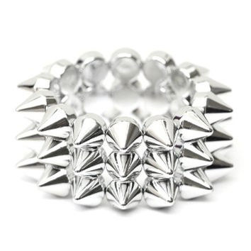 Layered Spike Studs Stretch Cuff Bracelet Silver Tone BC11 Edgy Punk Bangle Fashion Jewelry