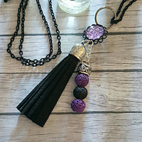 Essential oil diffuser necklace, tassel necklace, aromatherapy necklace, lava stone, black & purple, doterra, young living, gift for her