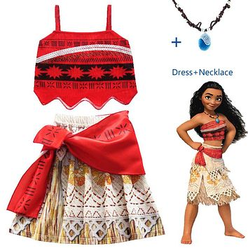 2018 Summer Princess Moana Cosplay Costume Children Vaiana baby girl dress with Necklace Halloween Costumes for Kids Girls Gifts