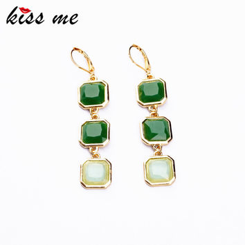 Gold New Styles 2015 Fashion Jewelry Long Earrings Light Green Square Pendant Earrings Christmas Gifts