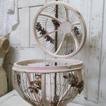 Huge hot air balloon birdcage rusted hand painted cream pink detailed with metal rusty roses and vines home decor anita spero