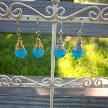 Crystalized Blue Mermaid Tears Wire Wrapped Gold or Silver Earrings Fantasy Minimalist Jewelry