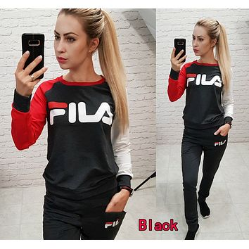 FILA Newest Popular Women Casual Print Long Sleeve Top Pants Set Two-Piece Sportswear Black