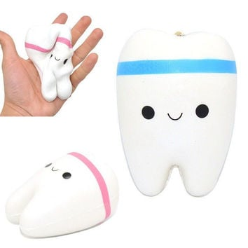 Jumbo Squishy Slow Rising Kawaii 11cm Teeth Soft Squeeze Cute Cell Phone Strap Bread Cake Stretchy Toy Gift Pendant