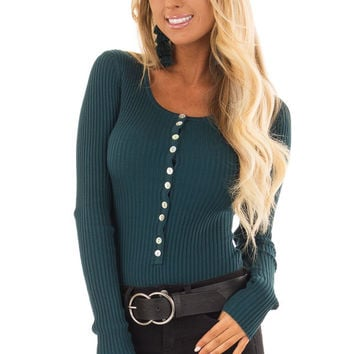 Teal Long Sleeve Ribbed Bodysuit with Button Detail