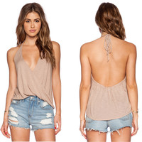 Sexy Women Summer Casual Sleeveless Shirt Backless Loose Vest Tank Top Blouse
