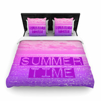 "Alison Coxon ""Summer Time"" Pink Typography Woven Duvet Cover"