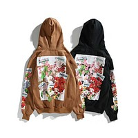 OFF-WHITE 2018 men and women couple floral print OW loose hoodie F-A-KEN-CP