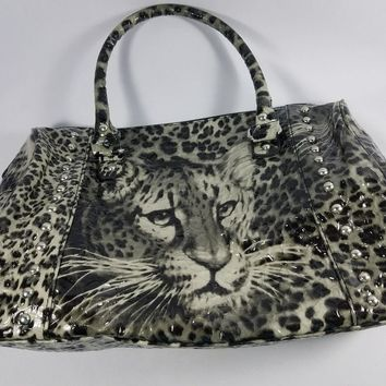 black and white leopard print vinyl purse with shoulder strap