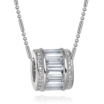 Fancy Small Wheel of Fortune Magical Powers Amulet Silver-Tone Baguette Crystals Charms Necklace