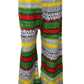 Women's Hippie Gypsy Boho Colorful Yoga Palazzo Casual Pants Onesize
