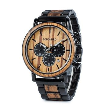 Magnificent Wooden Luxury Watch - Stylish Stainless Steel Wood Chronograph Military Quartz Watch For Mens by Ritzy