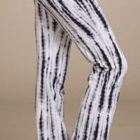 Tie Dye Palazzo Pants with Lace -Black