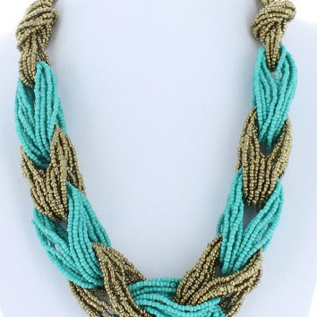 Trendy Twist Seed Bead Twisted Necklace Beaded Fashion Turquoise Gold Bead Costume Jewelry Gift
