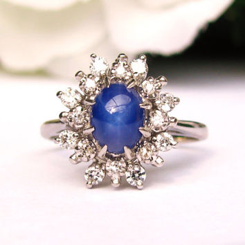 Vintage Diamond & Star Sapphire Ring Unique Vintage Engagement Ring 14K White Gold Diamond Wedding Ring Vintage Cocktail Ring!