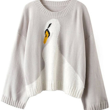 Grey Bell Sleeve Swan Printed Sweater