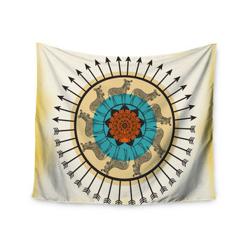 "Famenxt ""Colorful Peacock"" White Green Wall Tapestry"