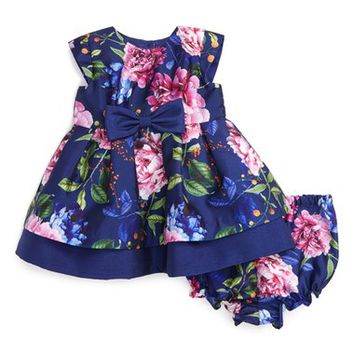 Pippa & Julie Floral Print Cap Sleeve Dress (Baby Girls) | Nordstrom