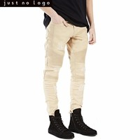 Mens Khaki Skinny Ripped Biker Jeans Straight Tapered Destroyed Hole Slim Fit Denim Pants for Men Party Streetwear Trouser