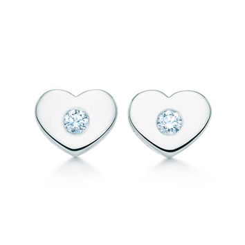 Tiffany & Co. - Paloma Picasso® Modern Heart earrings in sterling silver with diamonds, mini.