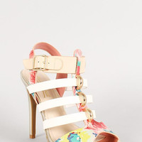 Anne Michelle Floral Leatherette Caged Heel Color: Pink Multi, Size: 8.5