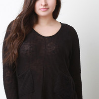 Loose Knit Pocket Long Dolman Sleeves Sweater Top