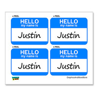 Justin Hello My Name Is - Sheet of 4 Stickers