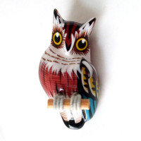 Vintage Owl Brooch 1970s Reproduction Takahashi Bird Hand Painted