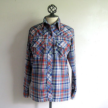 Vintage 1970s Womens Shirt Western Plaid Rockabiily Pin Up Shirt 12