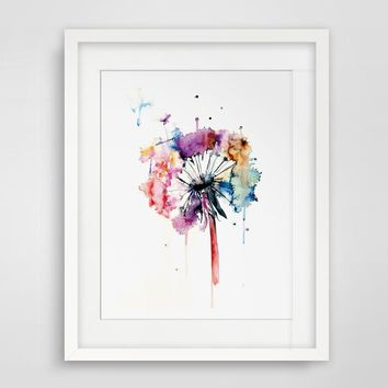 Dandelion Watercolor Print Nature Watercolor Poster Home Decor Dandelion Illustration Nursery Wall Art Wall Hanging